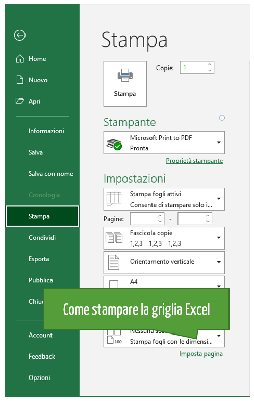 Stampare la griglia modificando le impostazioni di Imposta pagina