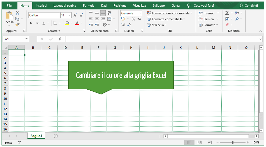 Come modificare la griglia su Excel