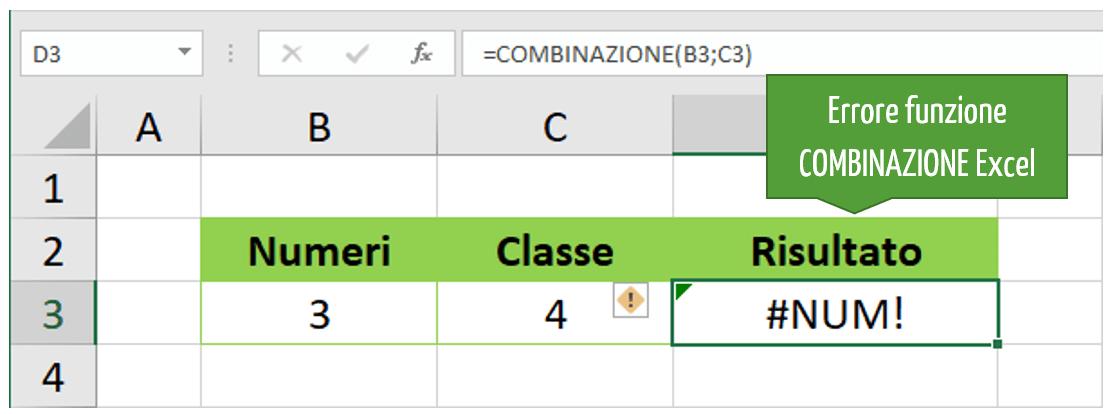 Errori restituiti dalla funzione COMBINAZIONE Excel