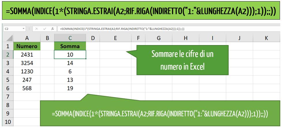 Sommare le cifre di un numero in Excel