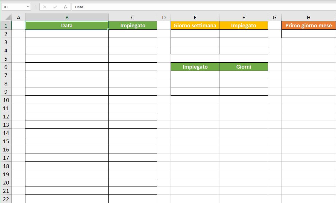turni di lavoro Excel