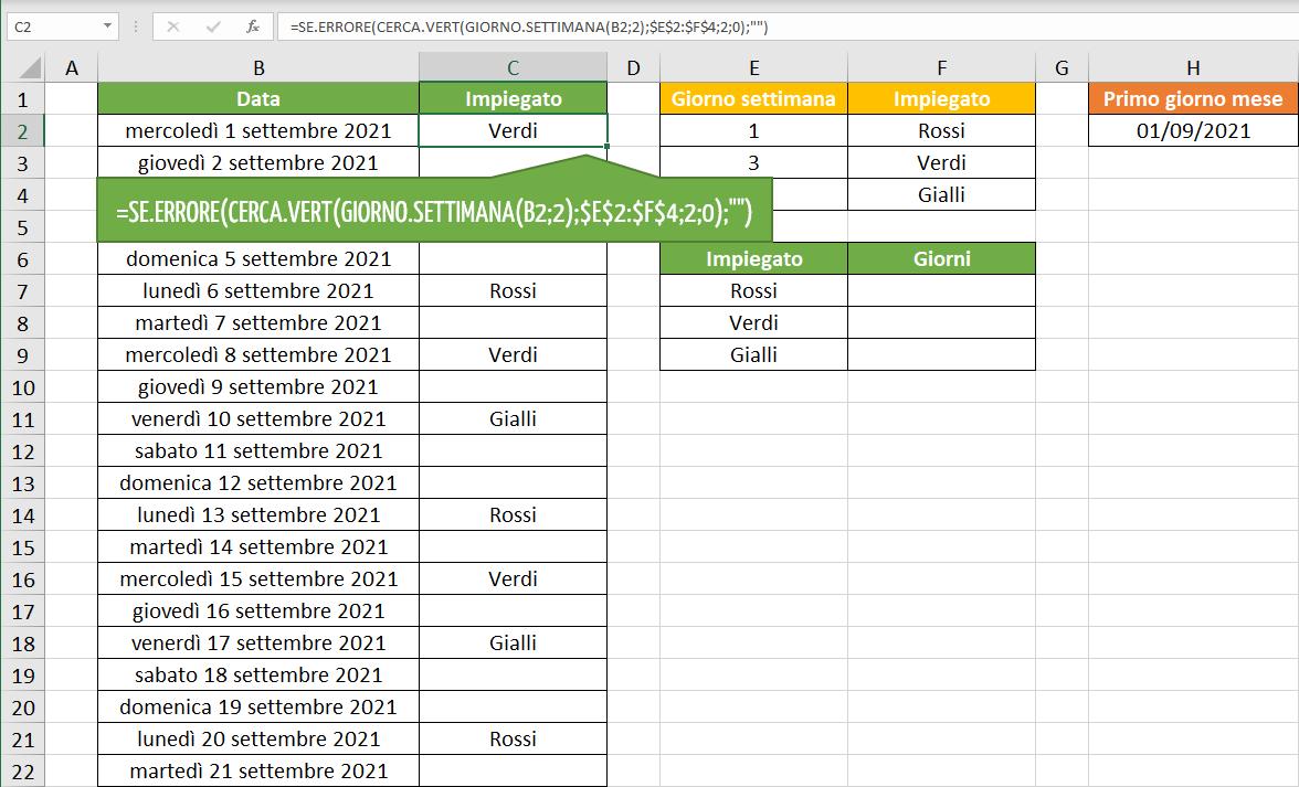 calendario turni di lavoro | Funzioni Excel